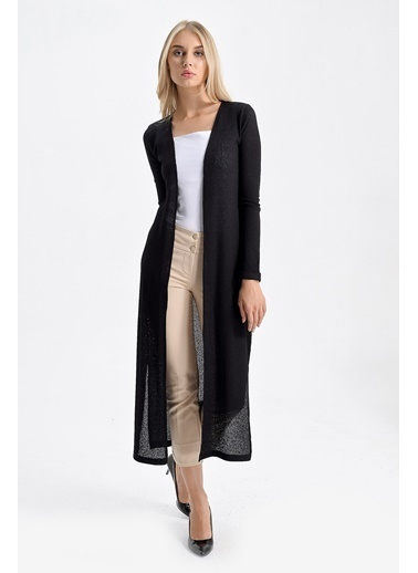 Jument Deluxe Triko Uzun Duble Kol Uzun Ceket Siyah